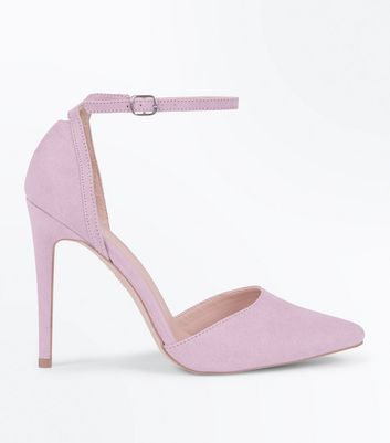 Lilac Suedette Keyhole Back Pointed Court Shoes