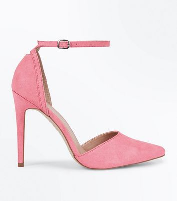 Bright Pink Suedette Keyhole Back Pointed Court Shoes