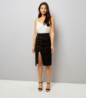 Black Pin Studded Split Hem Pencil Midi Skirt