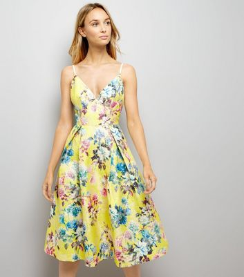 Yellow Floral Jacquard Strappy Prom Dress