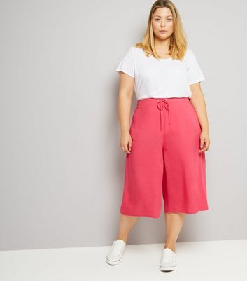 Curves Bright Pink Culottes