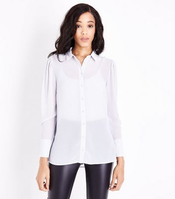 Grey Chiffon Long Sleeve Shirt