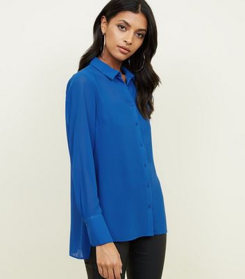 Blue Chiffon Long Sleeve Shirt