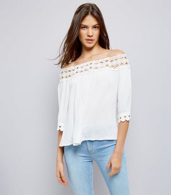Cameo Rose White Crochet Bardot Top