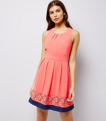Blue Vanilla Coral Contrast Lace Trim Bow Back Dress