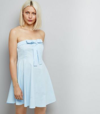 Blue Vanilla Pale Blue Bow Front Dress