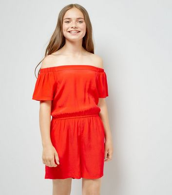 Teens Red Bardot Neck Playsuit