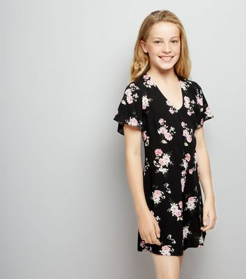 Teens Black Floral Print Playsuit