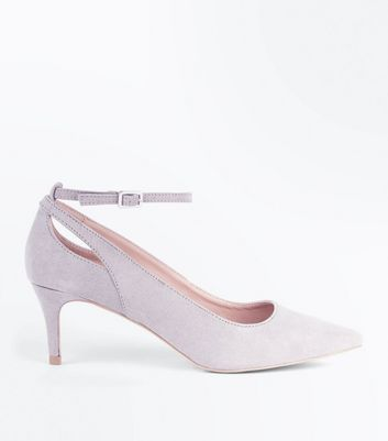 Grey Suedette Kitten Heel Pointed Court Shoes