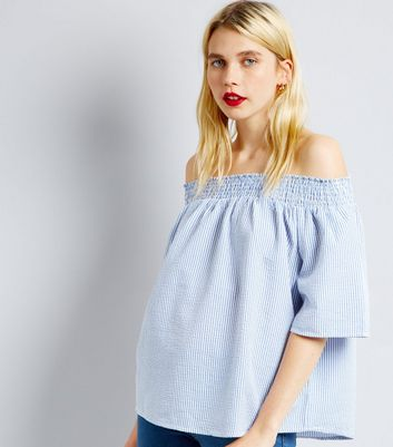 QED Blue Stripe Bardot Neck Top