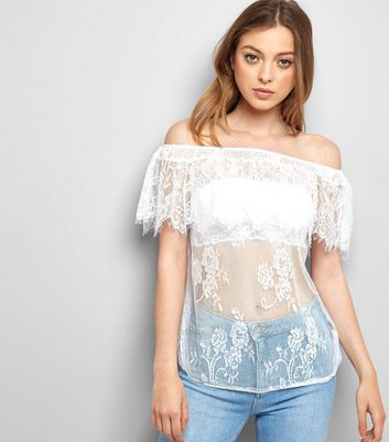 QED White Lace Bardot Top