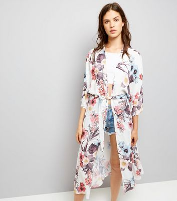 QED White Floral Print Belted Kimono