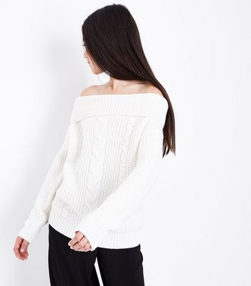 Teens White Cable Knit Bardot Neck Jumper