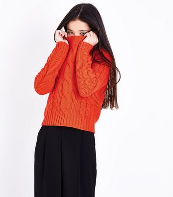 Teens Orange Cable Knit Jumper