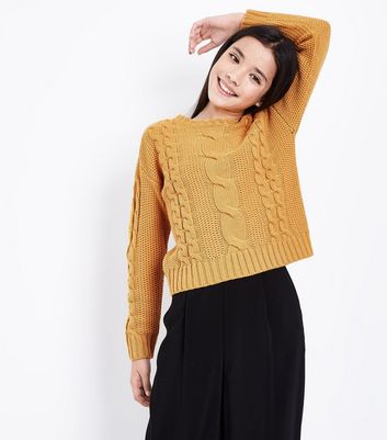 Teens Yellow Cable Knit Jumper