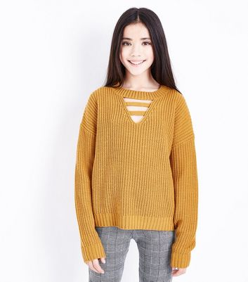 Teens Yellow Lattice Front Jumper