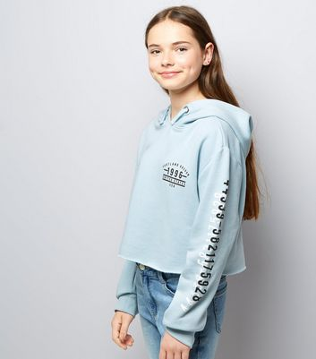 Teens Pale Blue Printed Sleeve Cropped Hoodie