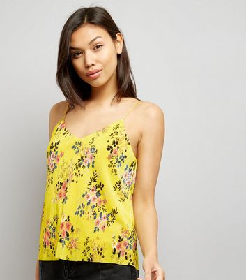 Yellow Floral Print Pleated Cami Top