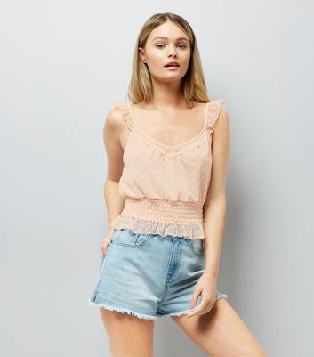 Pink Spot Mesh Frill Trim Crop Top