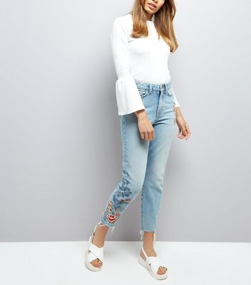 Pale Blue Floral Embroidered Raw Hem Tori Mom Jeans