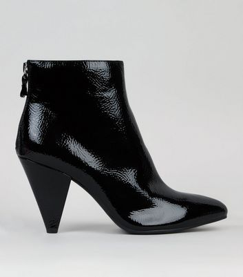 Black Patent Cone Heel Ankle Boots