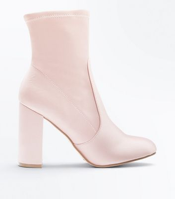 Pink Satin Block Heel Sock Boots
