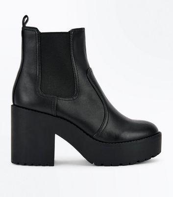 Black Chunky Sole Block Heel Chelsea Boots