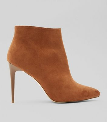 Tan Suedette Stiletto Heel Pointed Boots