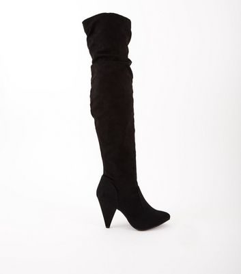 Black Suedette Slouch Over the Knee Boots