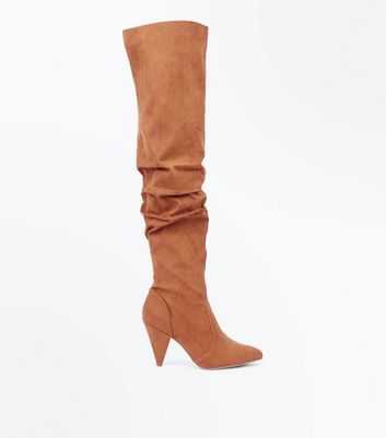 Tan Suedette Slouch Over The Knee Boots