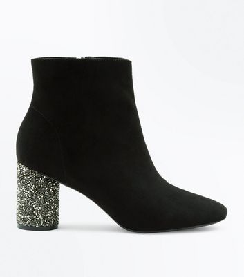 Black Embellished Block Heel Ankle Boots