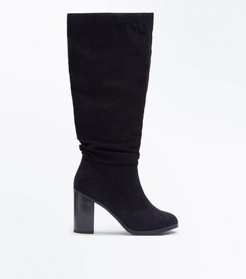 Black Suedette Knee High Block Heel Boots