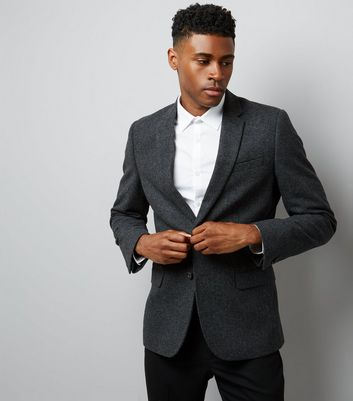 Charcoal Grey Textured Blazer
