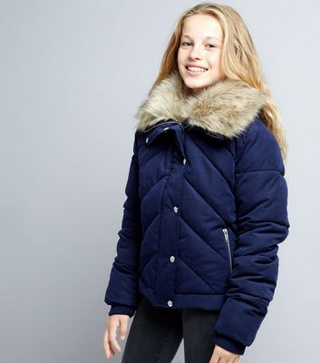 Teens Navy Chevron Panel Quilted Jacket