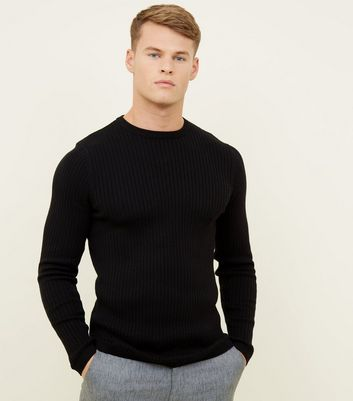 Black Cotton Ribbed Jumper