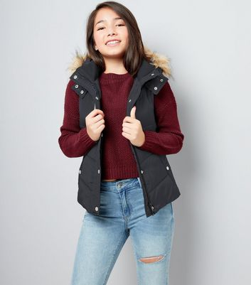 Teens Black Faux Fur Trim Padded Gilet
