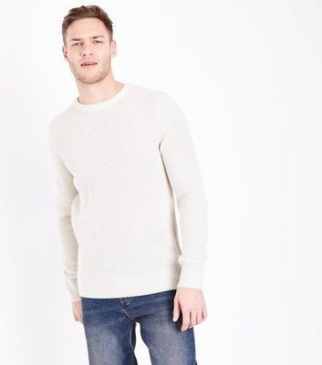 Off White Textured Crew Neck Jumper
