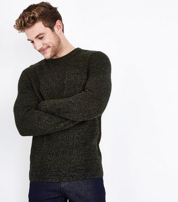 Olive Textured Crew Neck Jumper