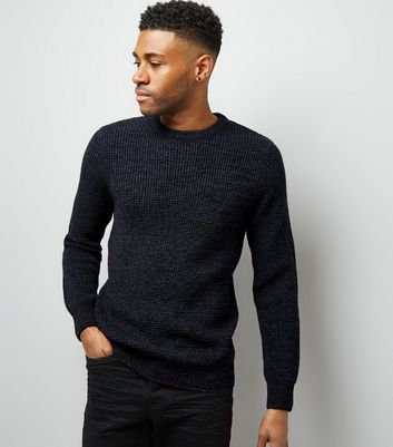 Navy Crew Neck Textured Jumper