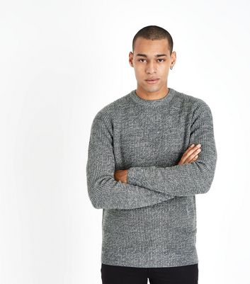 Grey Crew Neck Textured Jumper
