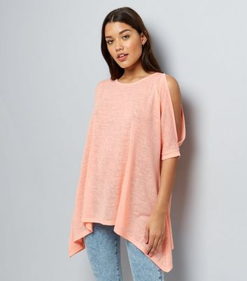 Coral Hanky Hem Cold Shoulder Top