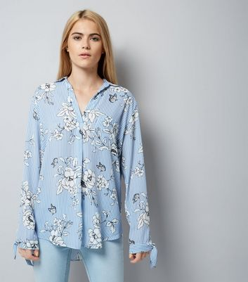 Blue Stripe Floral Print Tie Sleeve Shirt