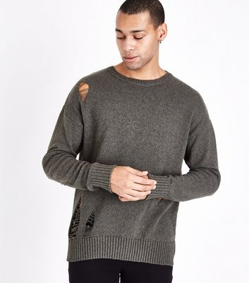 Olive Ripped Longline Crew Neck Jumper