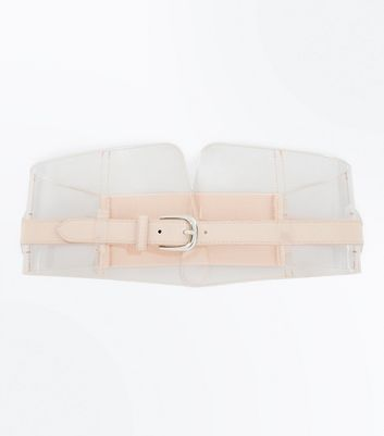 Clear Nude Pink Buckle Front Corset Belt