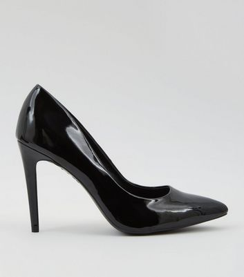 Black Patent Pointed Court Shoes