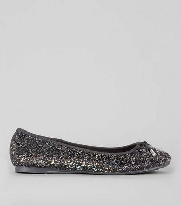 Wide Fit Black Sequin Ballet Pumps