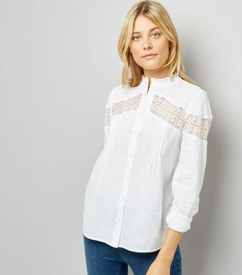 White Lace Insert Shirt