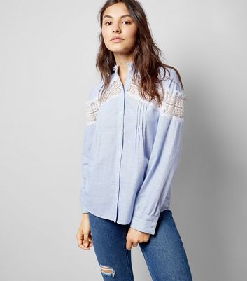 Blue Lace Insert Shirt