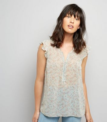 Pale Blue Floral Print Zip Front Top