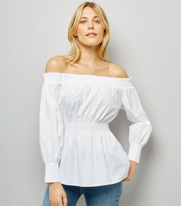 White Shirred Bardot Neck Top
